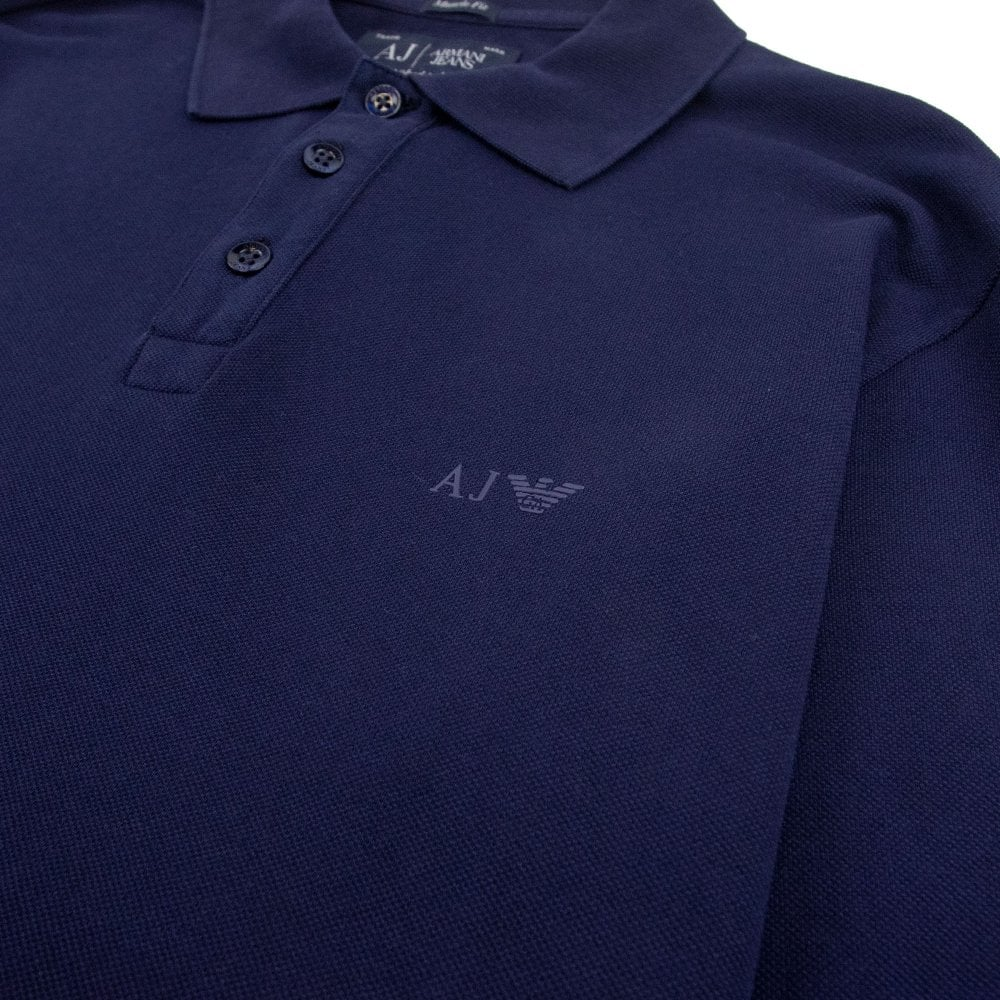 b22c42c98ffb Armani Jeans AJ Eagle Logo Long Sleeve Polo Shirt Navy | ONU