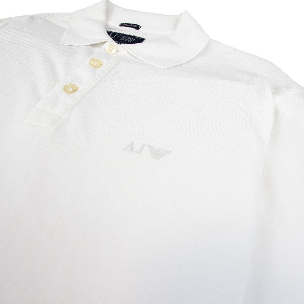 8af0d6c792c1 Armani Jeans AJ Eagle Logo Long Sleeve Polo Shirt White | ONU