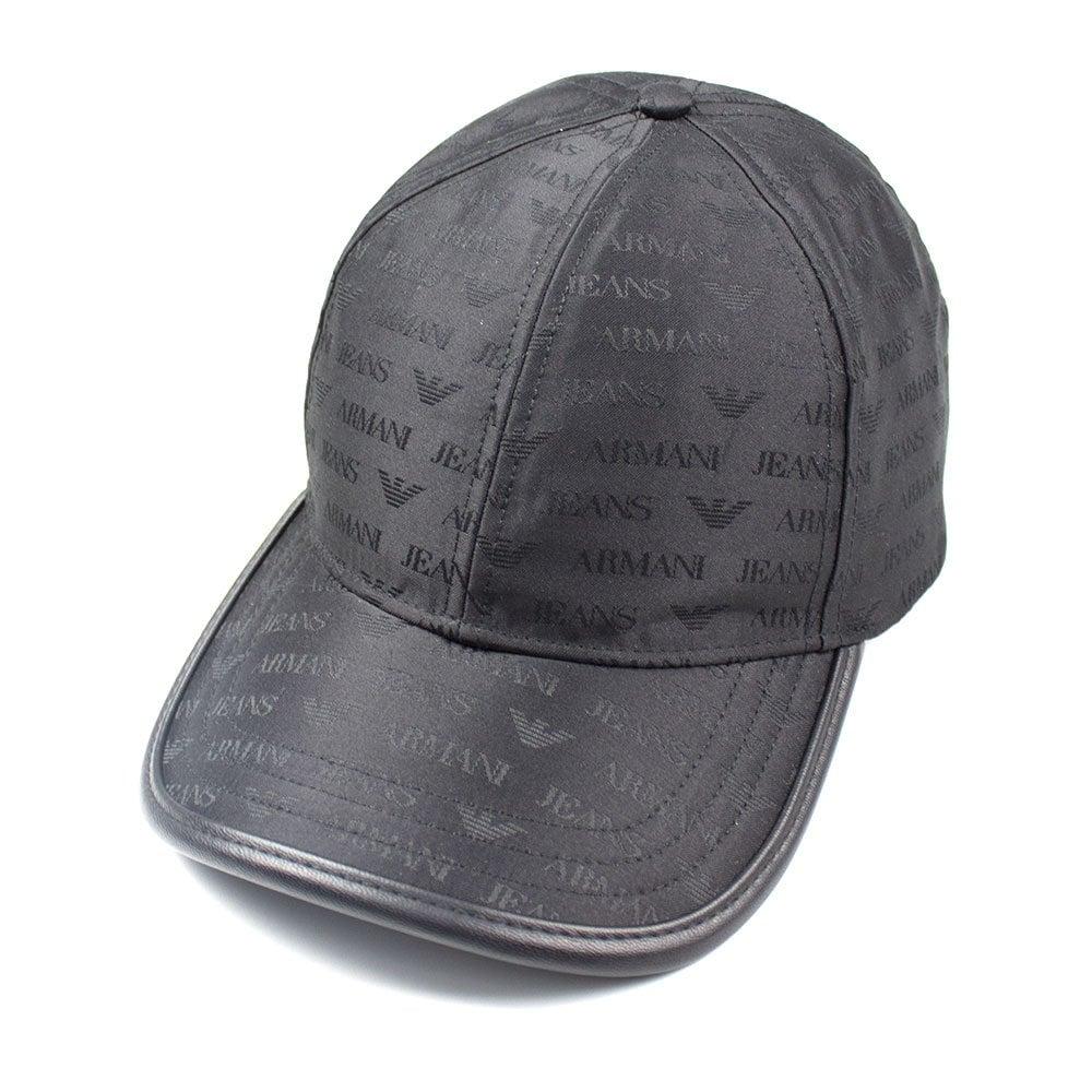 18ccb9f3a092b1 Armani Jeans AJ Logo Print Cap Black | ONU