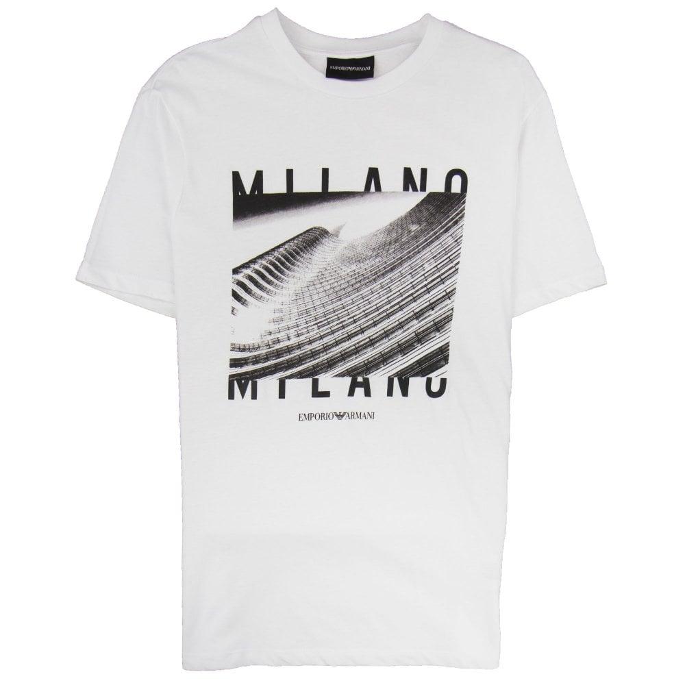 92f6032e Armani Jeans City Logo Milano T-shirt Bianco Ottico 0100 | ONU