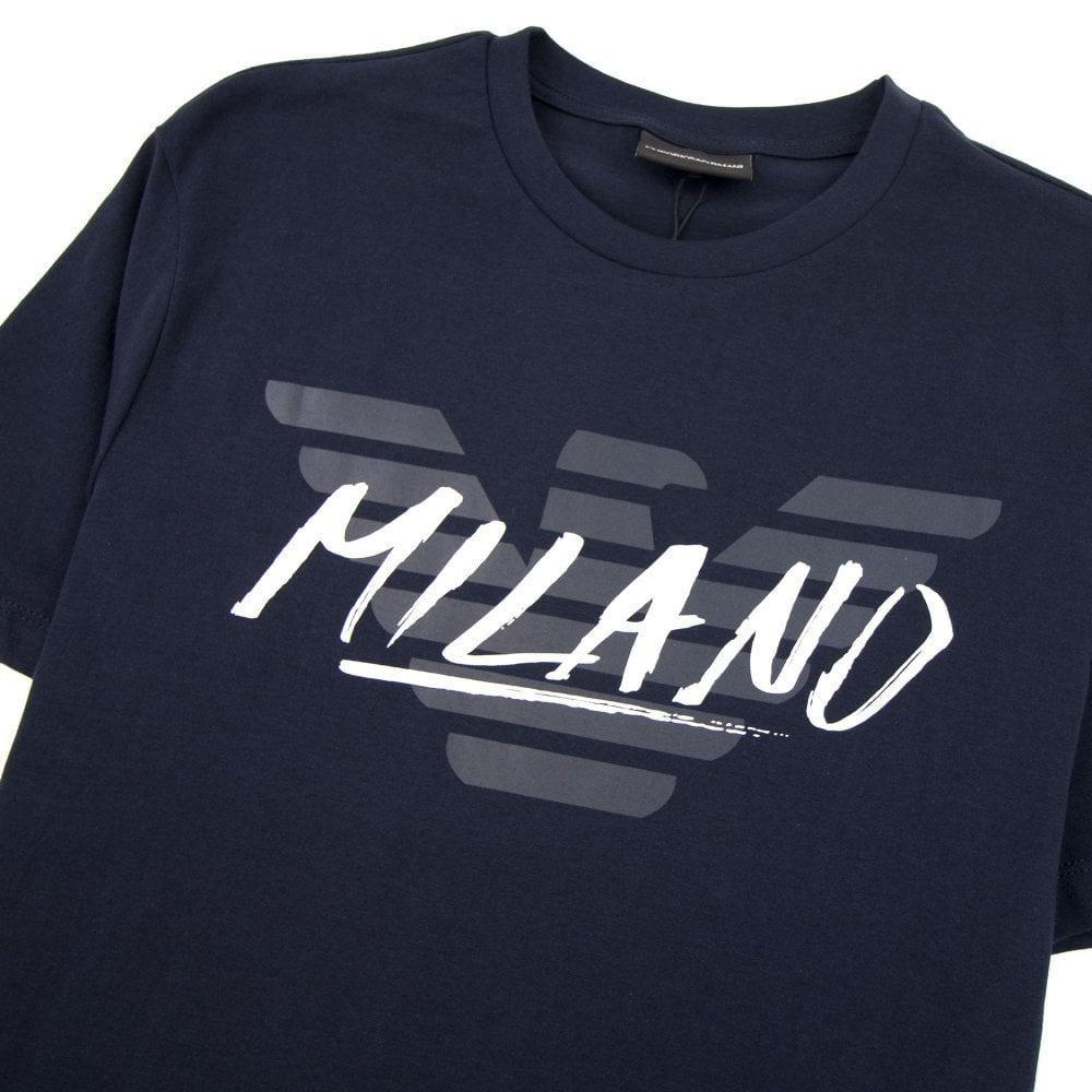 ac3f111ab Armani Jeans Eagle City Writing Milano T-shirt Blue Navy 0922 | ONU