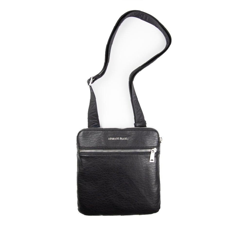 7977f7ca9f4d Armani Jeans Leather Messenger Bag Black