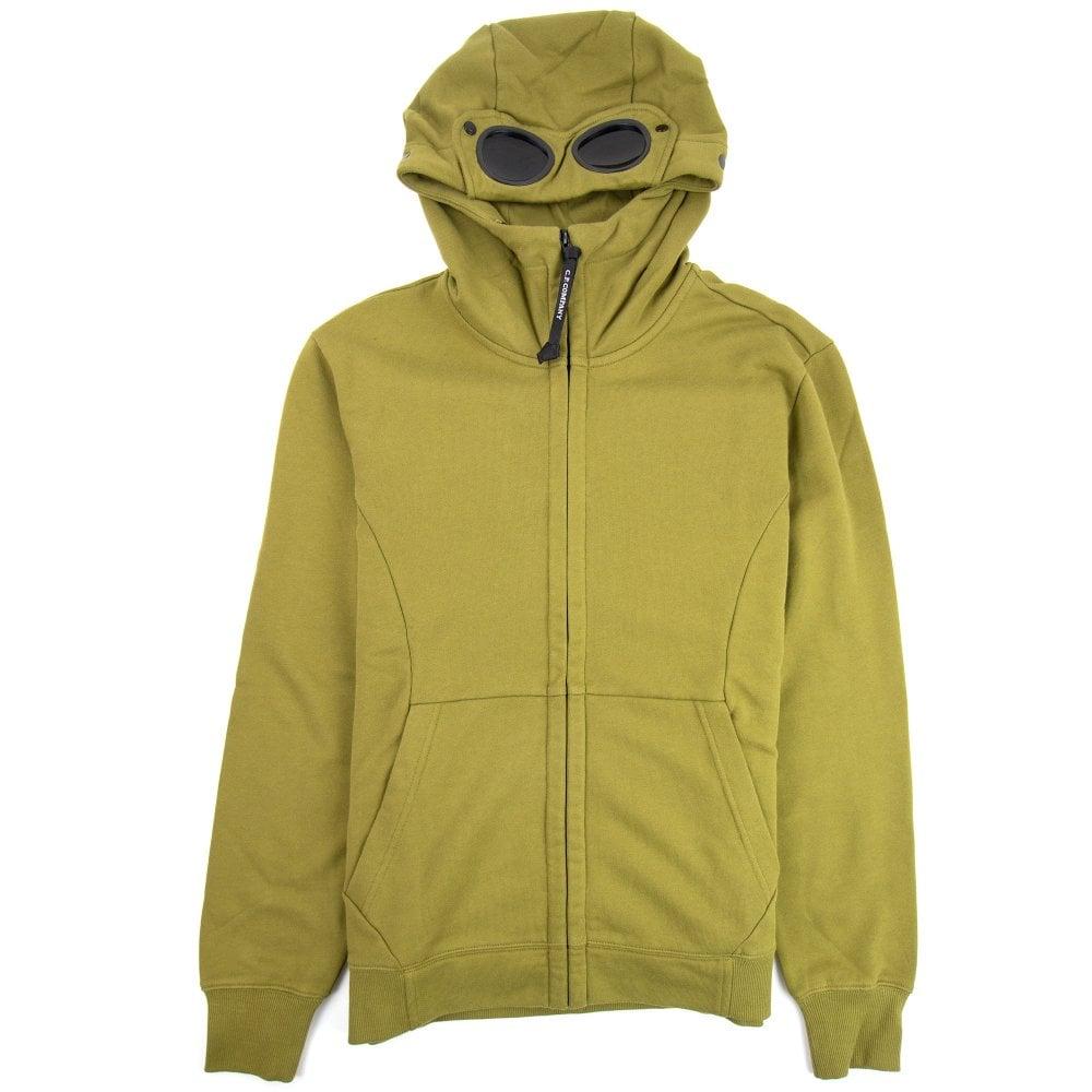 CP Company CP Company Diagonal Raised Fleece Goggle Full Zip Hoodie Moss Green 639