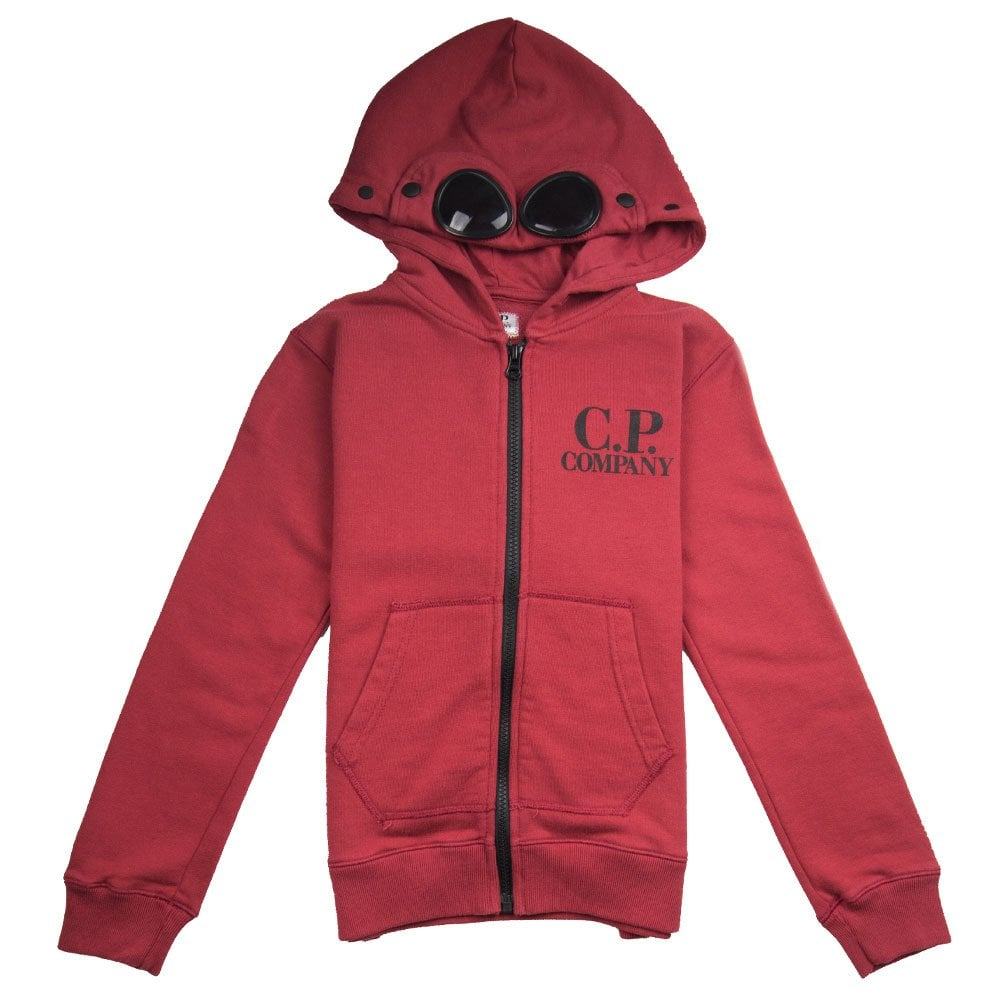 2b5ace901d40 CP Company Undersixteen Goggle Zip Up Hoody Red