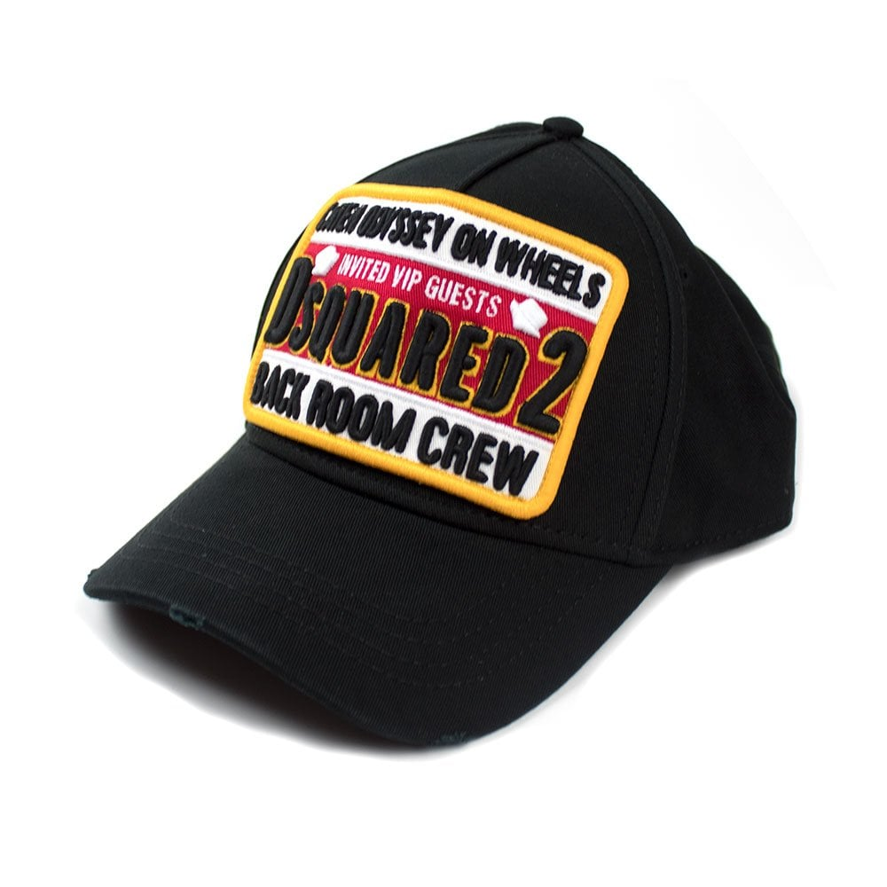 15800e02 Dsquared2 Back Room Crew Cap Black/Red | ONU