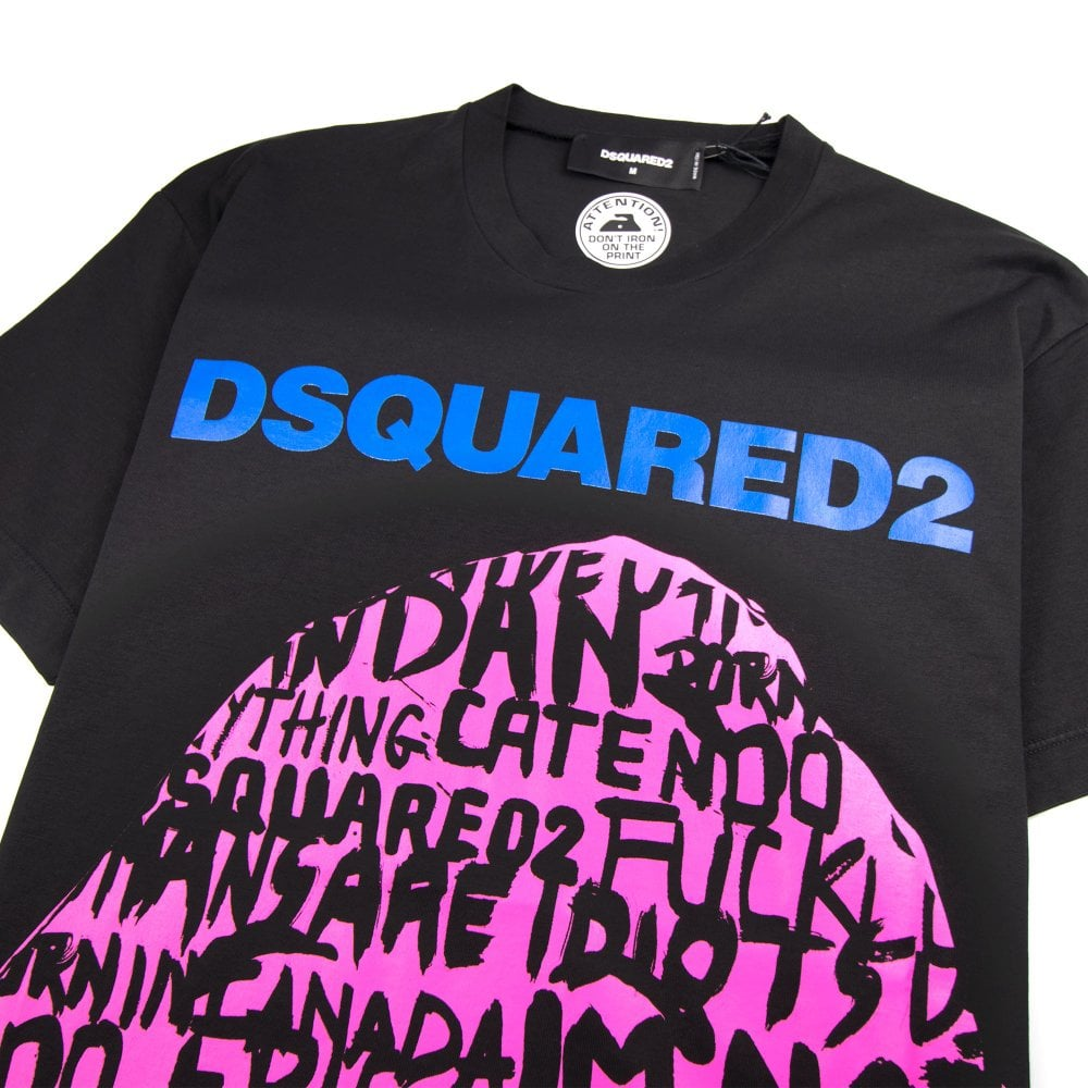 1e704200 Dsquared2 Graphic Writing Tee Black/Pink   ONU