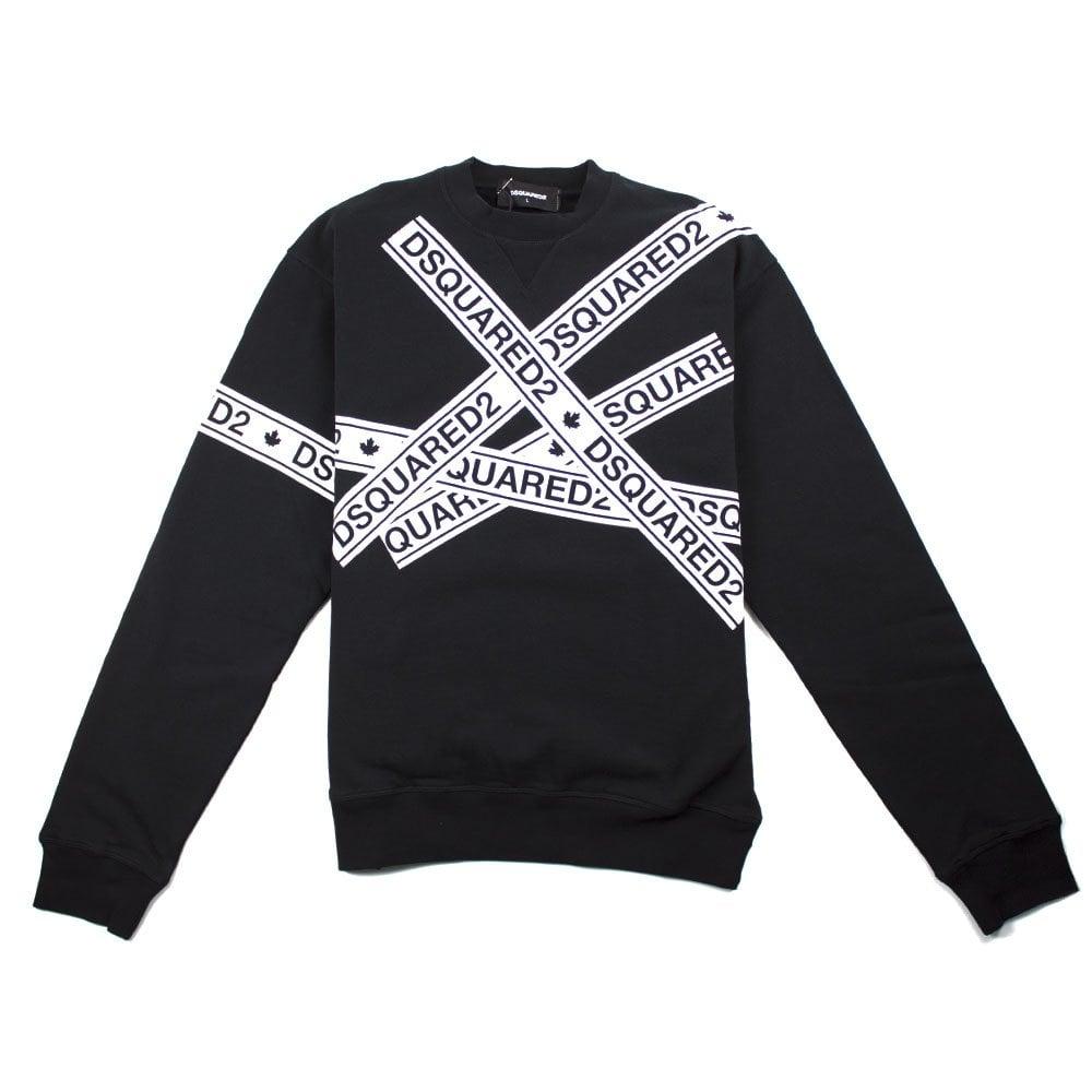 1e6e640f6b198d Dsquared2 Tape Sweatshirt Black   ONU