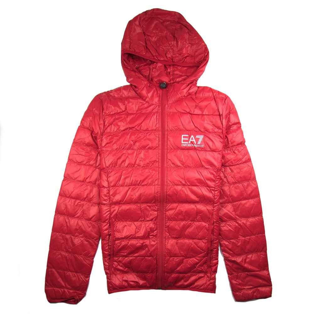 c2e4d6354 EA7 Emporio Armani Hooded Down Jacket Red