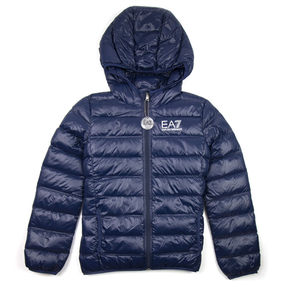 hot-selling discount 100% authentic clear-cut texture EA7 Emporio Armani Down Puffer Jacket Navy Blue