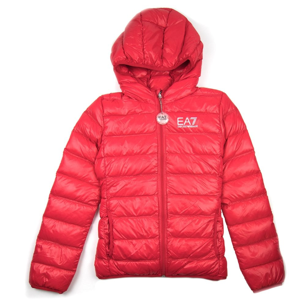 clear-cut texture closer at stable quality EA7 Emporio Armani Down Puffer Jacket Racing Red
