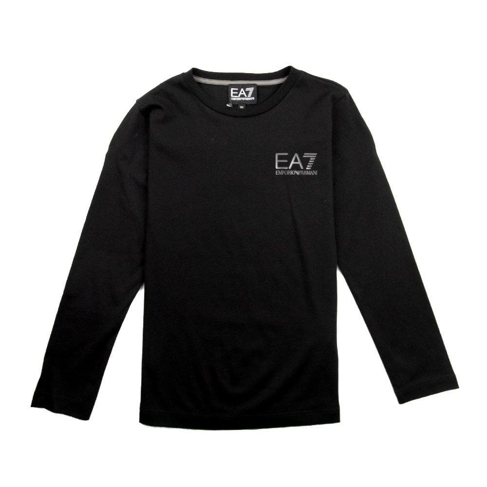 7c108b84dbd8 EA7 Kids Long Sleeve Chest Logo T-Shirt Black   ONU