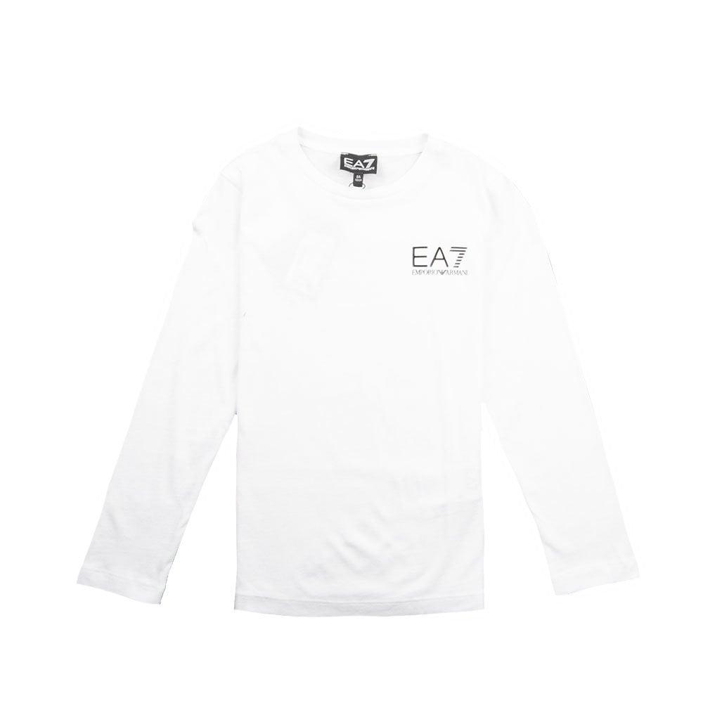 8401d3d65 EA7 Kids Long Sleeve Chest Logo T-Shirt White | ONU