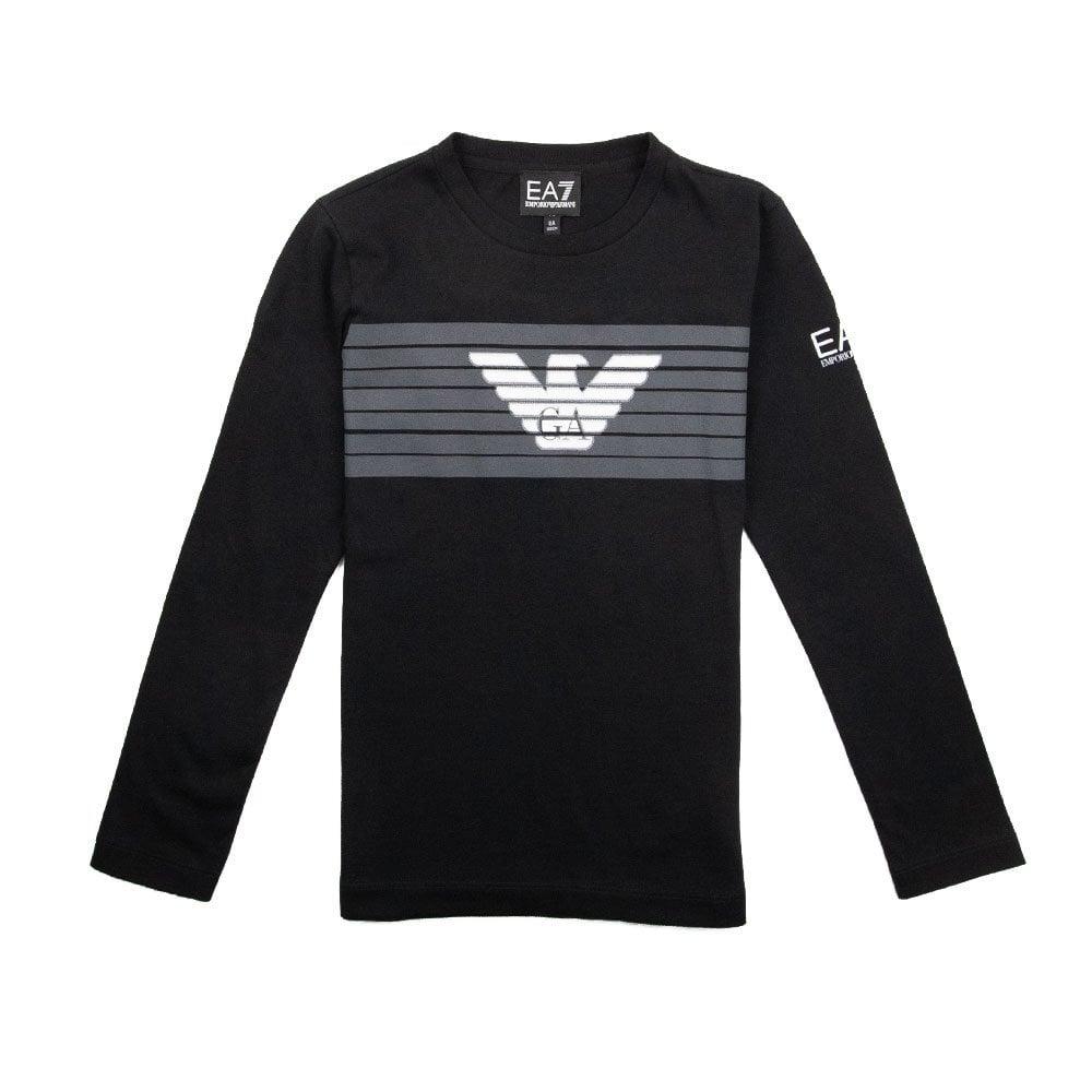8a471654 EA7 Kids Long Sleeve Eagle Logo T-Shirt Black | ONU