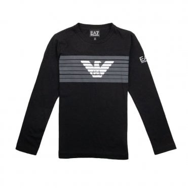 b430f86a EA7 Kids Long Sleeve Eagle Logo T-Shirt Black