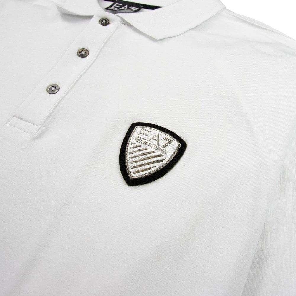 a59ce9837 EA7 Train Soccer Long Sleeve Polo White