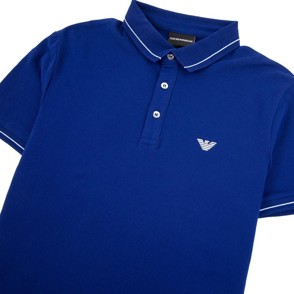 1ca047de4d Armani Jeans Tipped Logo Polo Shirt Royal Blue 0955