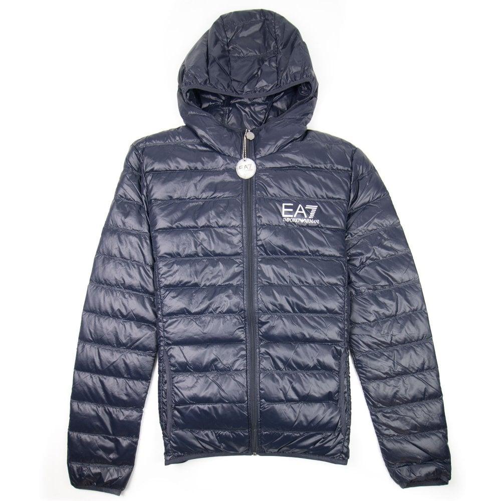 ca605c2dd5f1b Emporio Armani EA7 Hooded Down Jacket Night Blue | ONU