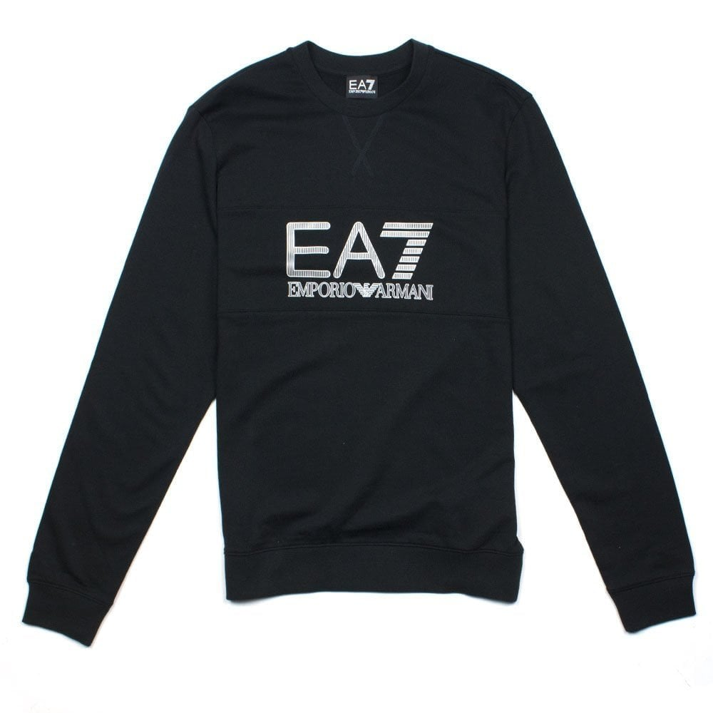 566225a4 Emporio Armani EA7 Large Logo Crew Neck Sweatshirt Black | ONU