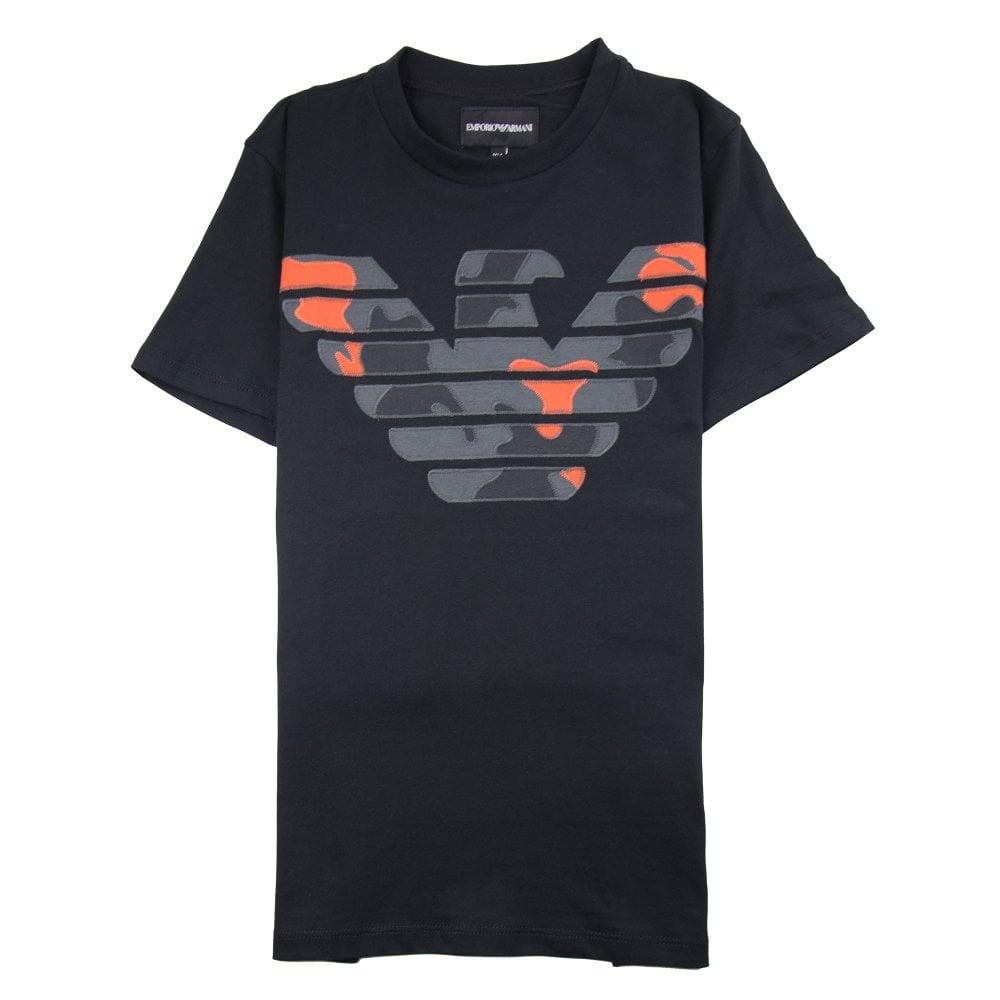 37b8e673 Emporio Armani Jnr Camo Eagle T-Shirt Black
