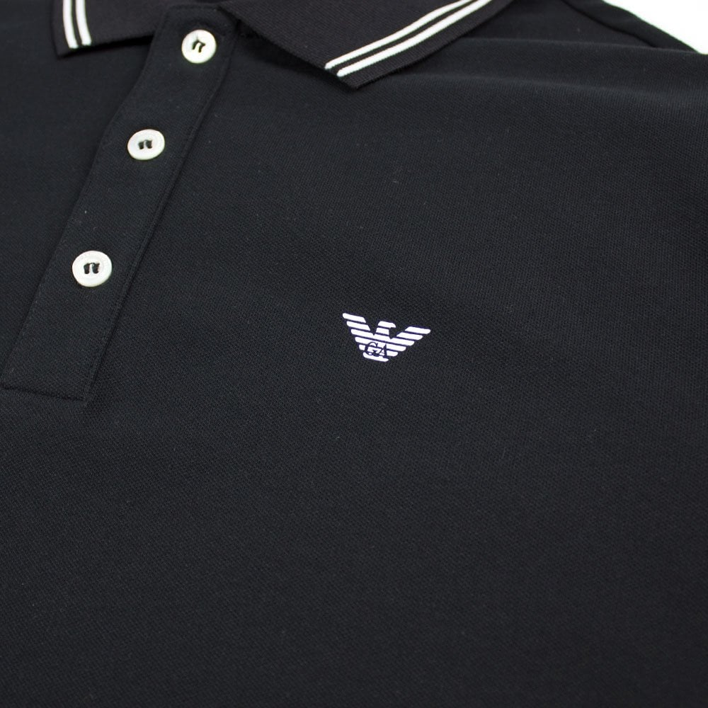 4a72893e5 ... germany emporio armani twin tipped long sleeve polo shirt black edebb  4f7f5