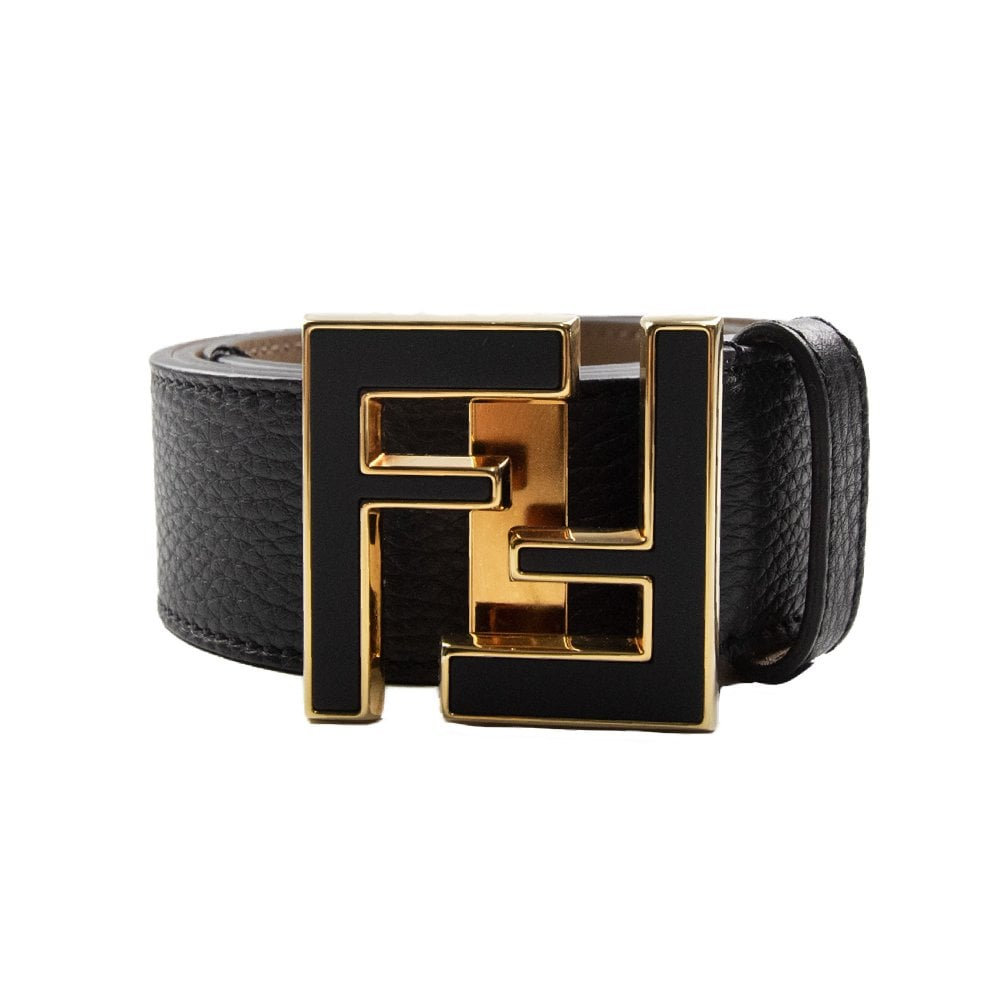 5d644e9d FF Gold Logo Leather Belt Black