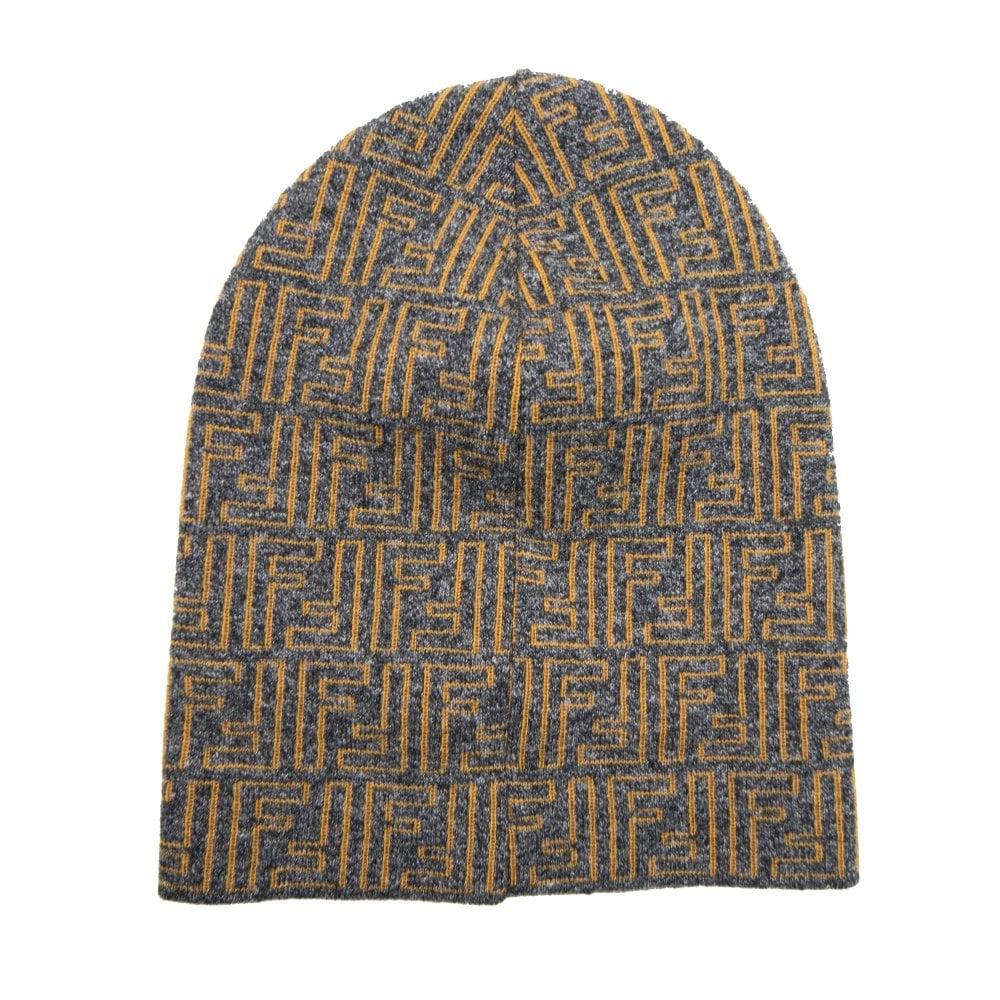 e9e0215e994d3 Fendi FF Logo Beanie Hat Orange Grey