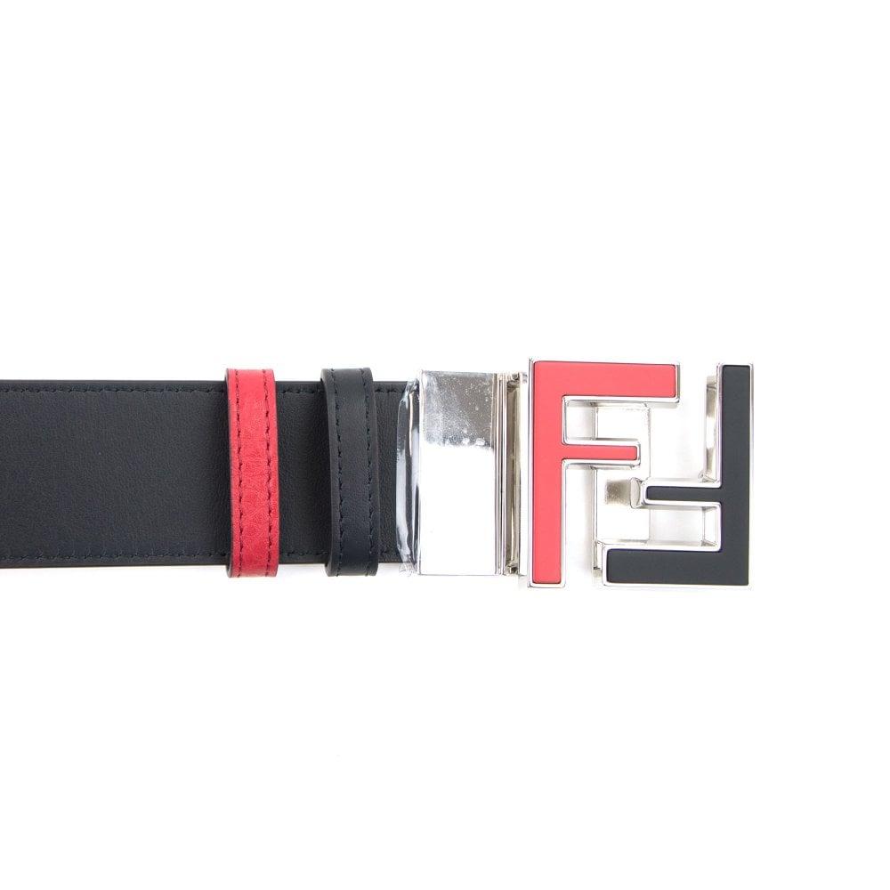 5ec790b3219c7 Fendi FF Logo Embossed Leather Reversible Belt Black/red | ONU