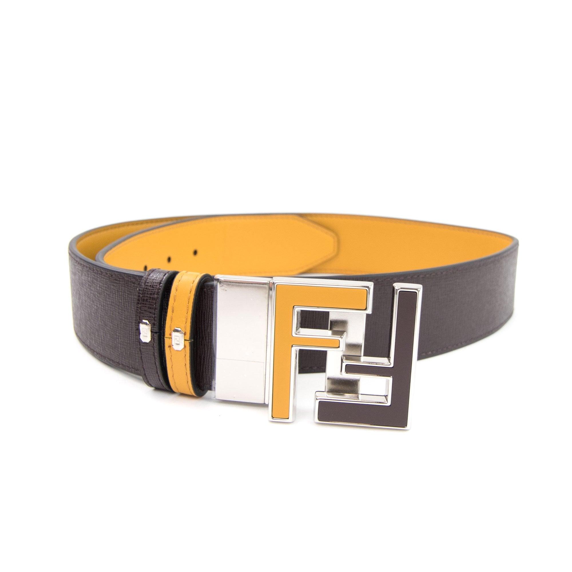 Fendi Ff Logo Smooth Leather Reversible Belt Brown Yellow Onu Fendi belt bags for men. fendi fendi ff logo smooth leather reversible belt brown yellow