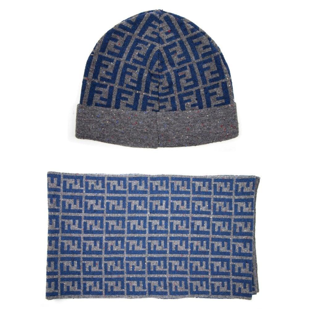 a8d9cfaf1ca6d1 Fendi FF Speckle Logo Beanie Hat & Scarf Set Grey/Blue   ONU