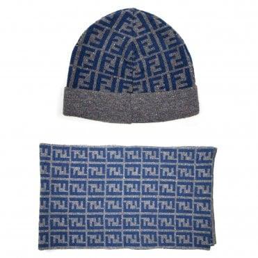 fe20707231f Fendi FF Speckle Logo Beanie Hat   Scarf Set Grey Blue