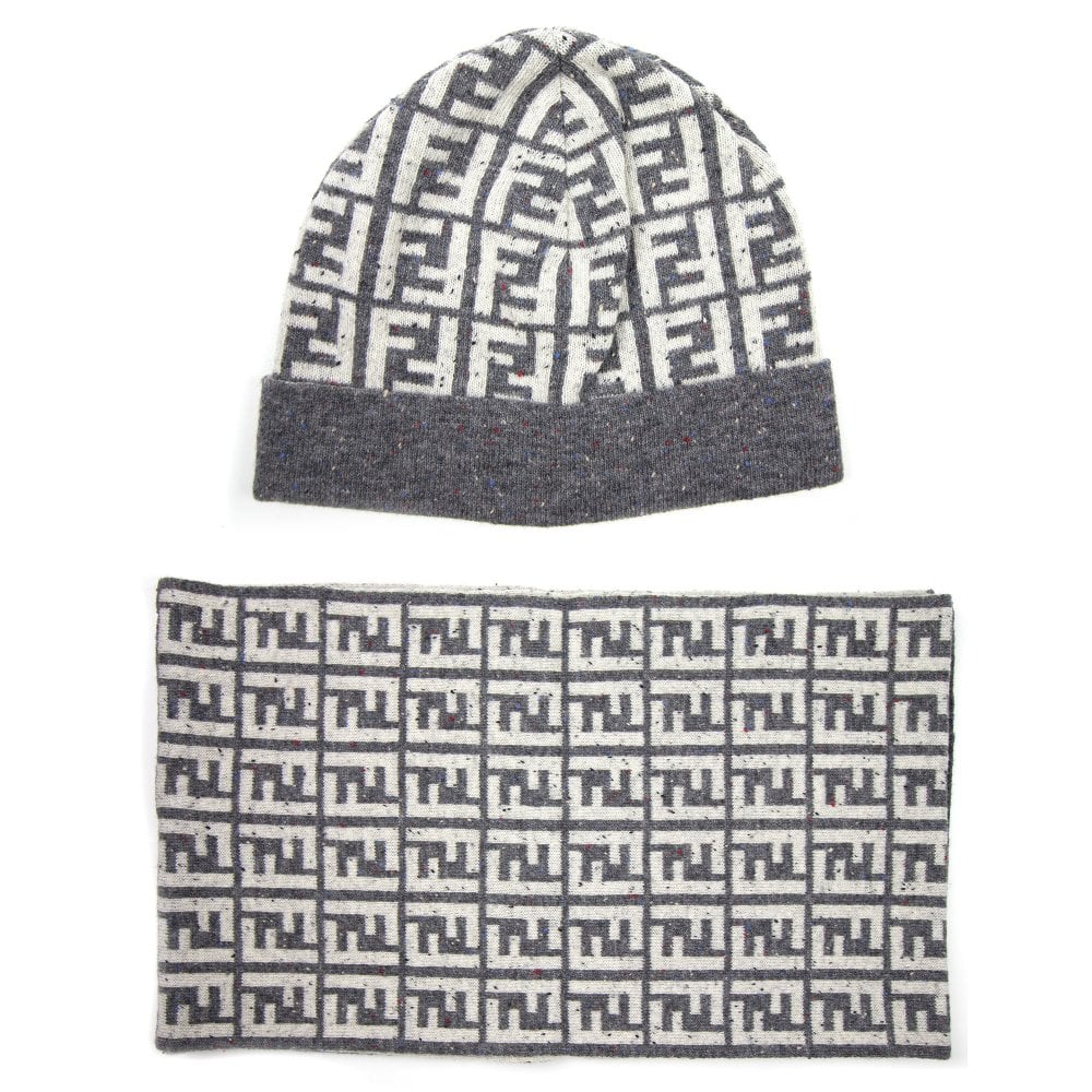 ecada87836eedd Fendi FF Speckle Logo Beanie Hat & Scarf Set White/Grey   ONU