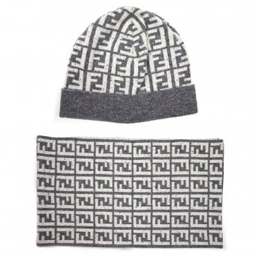 8525f547280 Fendi FF Speckle Logo Beanie Hat   Scarf Set White Grey
