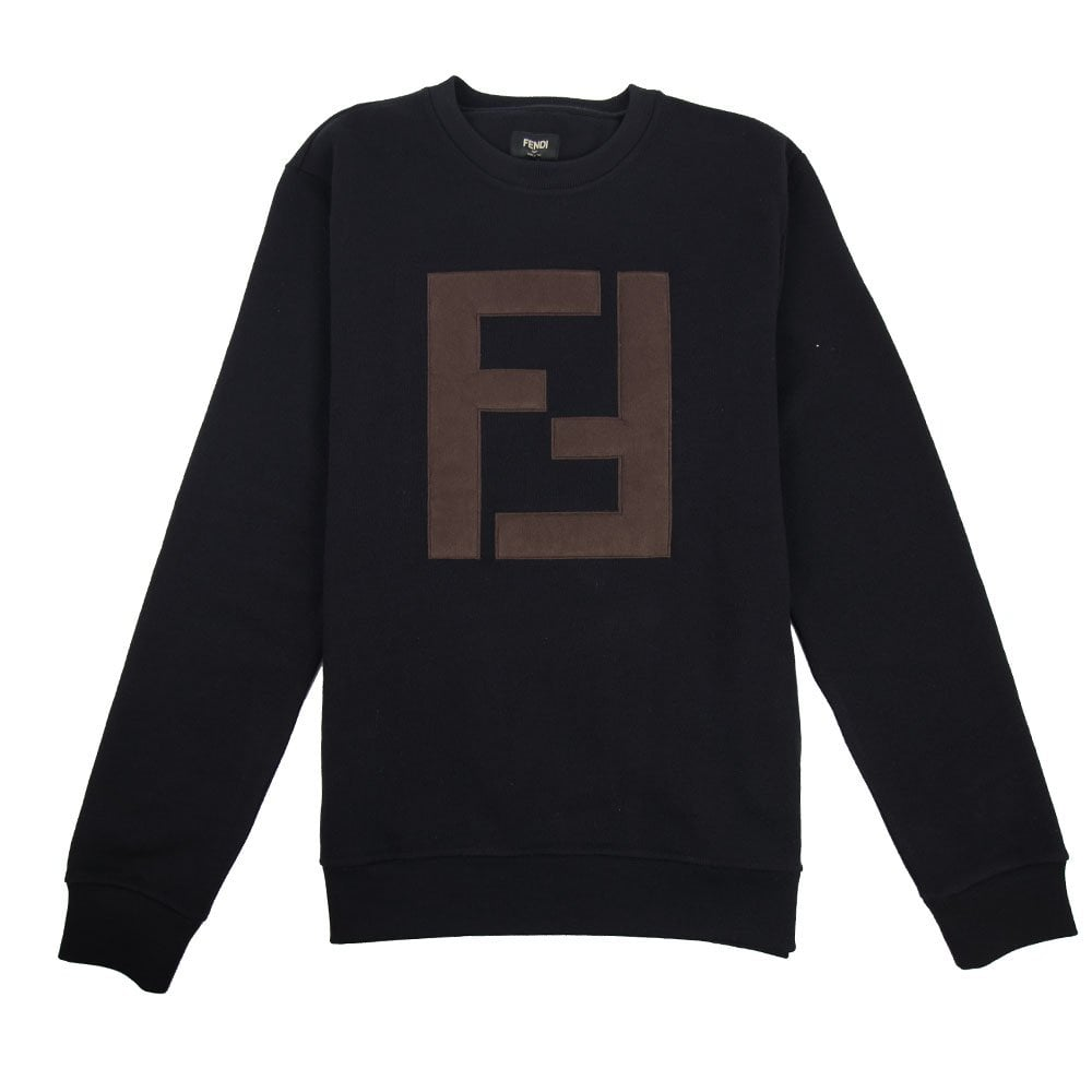 02ef47da Fendi Leather FF Logo Sweatshirt Black | ONU