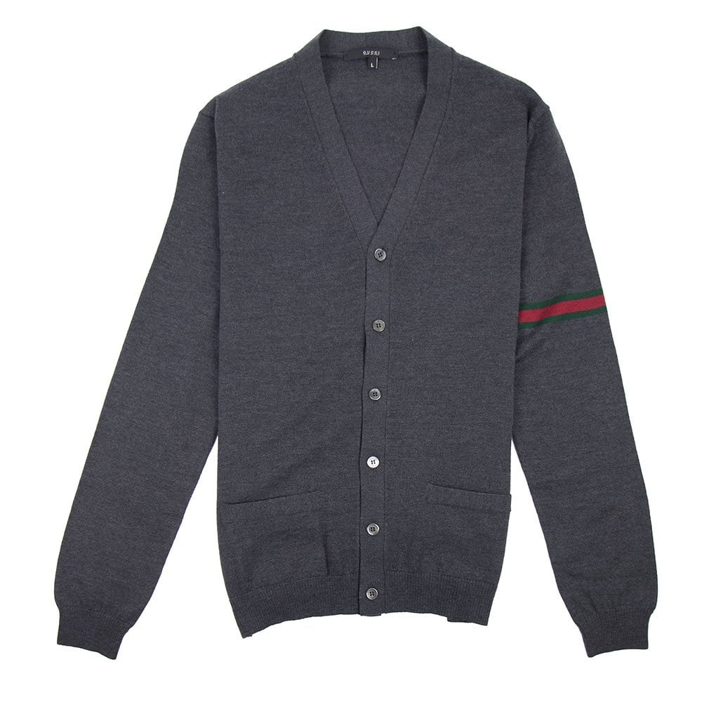 23e0ca89be0 Gucci 6 Button Arm Stripe Cardigan Grey