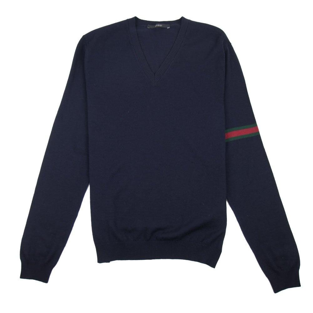 a3bbbdb42 Gucci Arm Stripe Knitted Jumper Navy Blue