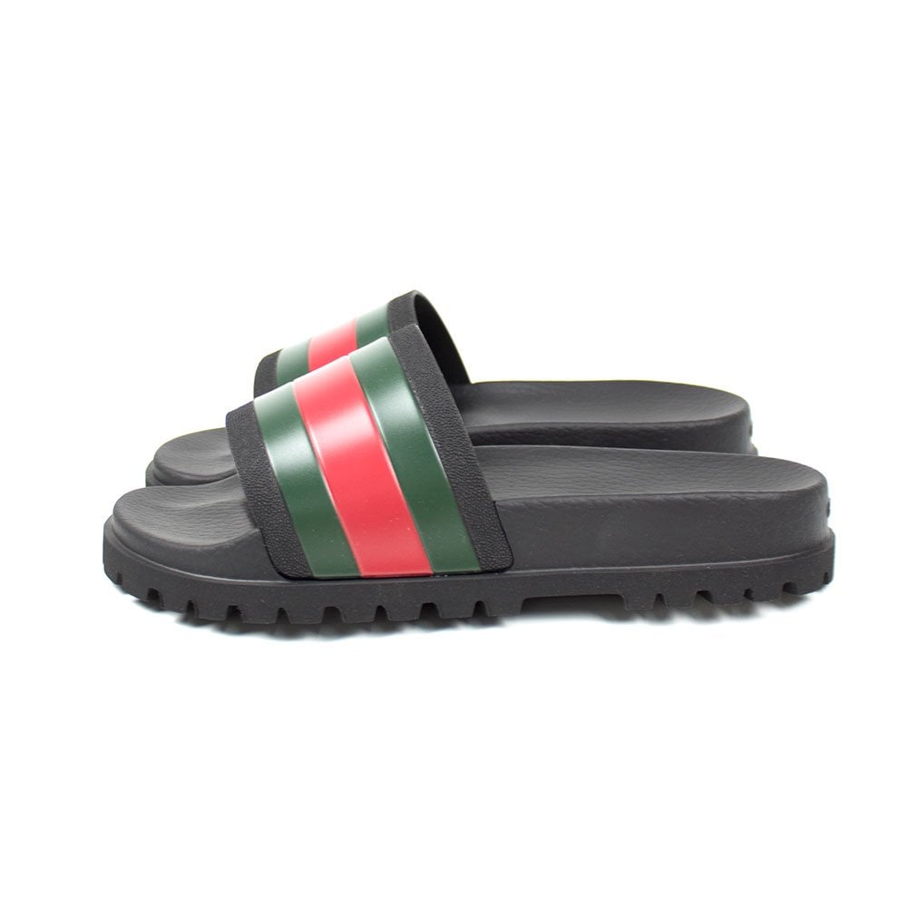 e989077eb84a Gucci Band Striped Web Rubber Slides Black