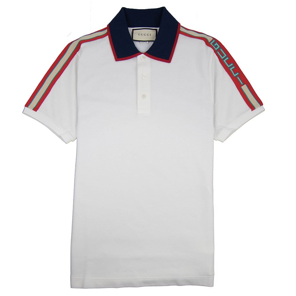 12d1be31 Gucci Cotton Polo Shirt With Gucci Stripe White | ONU