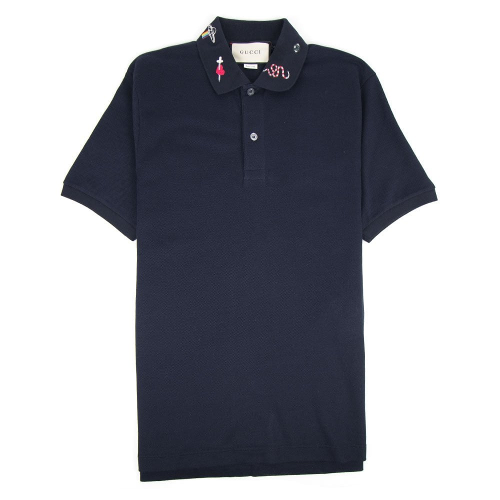 20818283979245 Gucci Embroidered Collar Polo Shirt Navy
