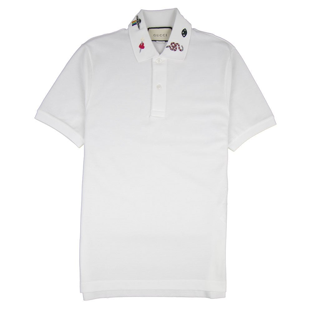 dd6c8c96c0b6 Gucci Embroidered Collar Polo Shirt White | ONU