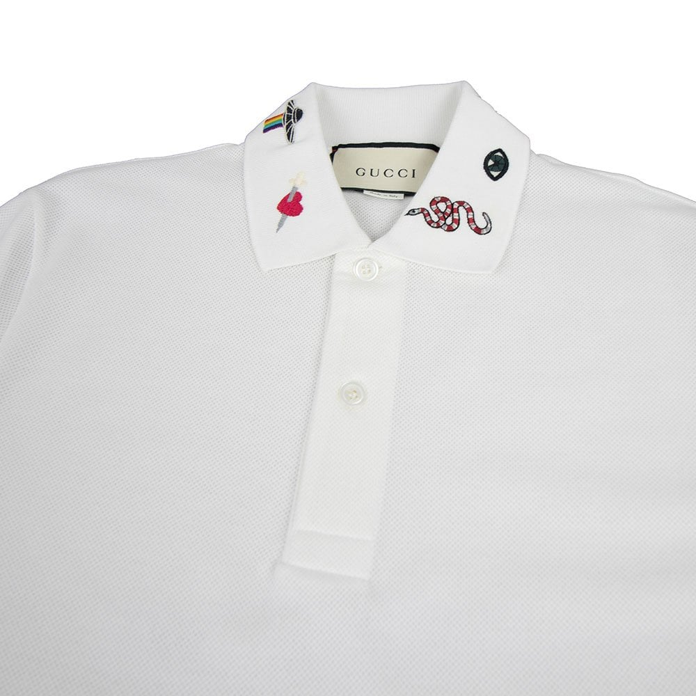 627630c7bb2 Gucci Embroidered Collar Polo Shirt White | ONU