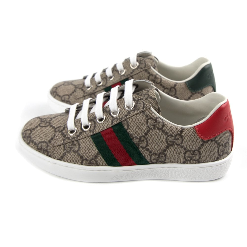 ed0a8cbe032 Gucci Junior Ace GG Supreme Sneaker Brown