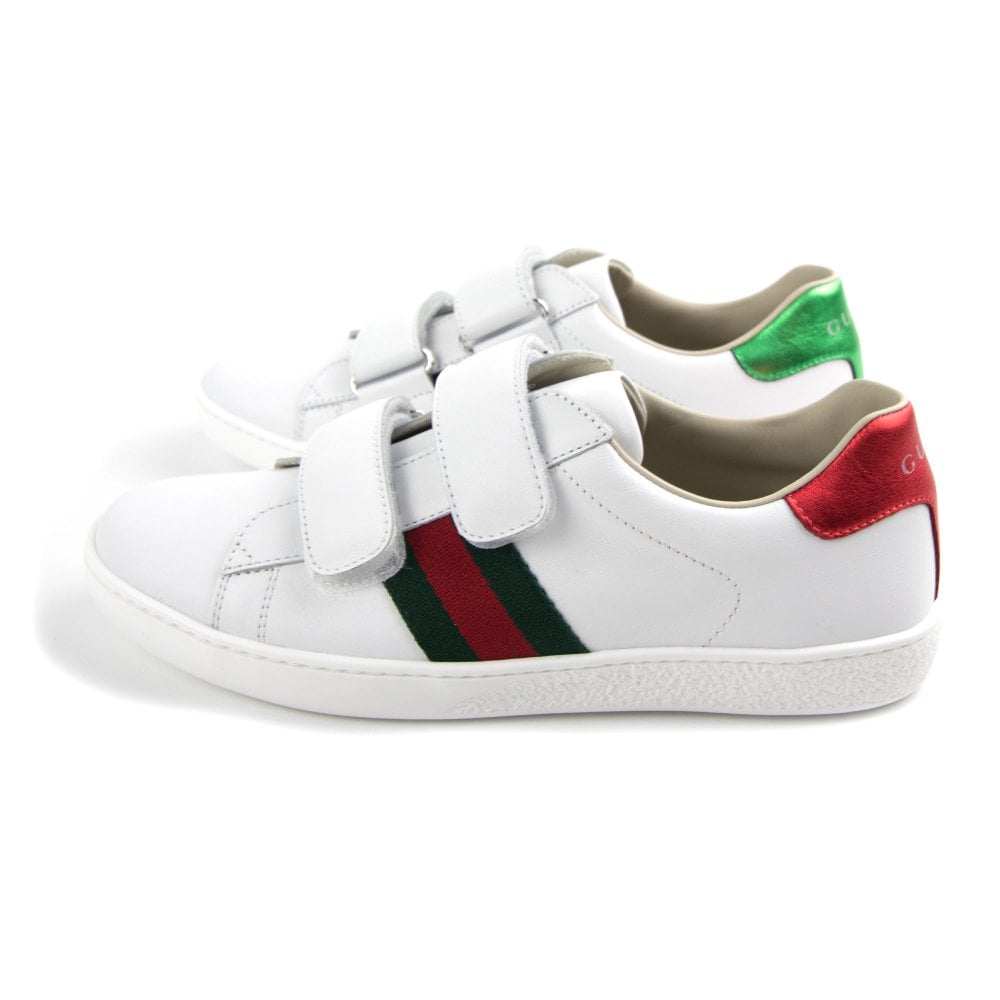 76a04e82a Gucci Junior Ace Leather Velcro Sneaker White | ONU