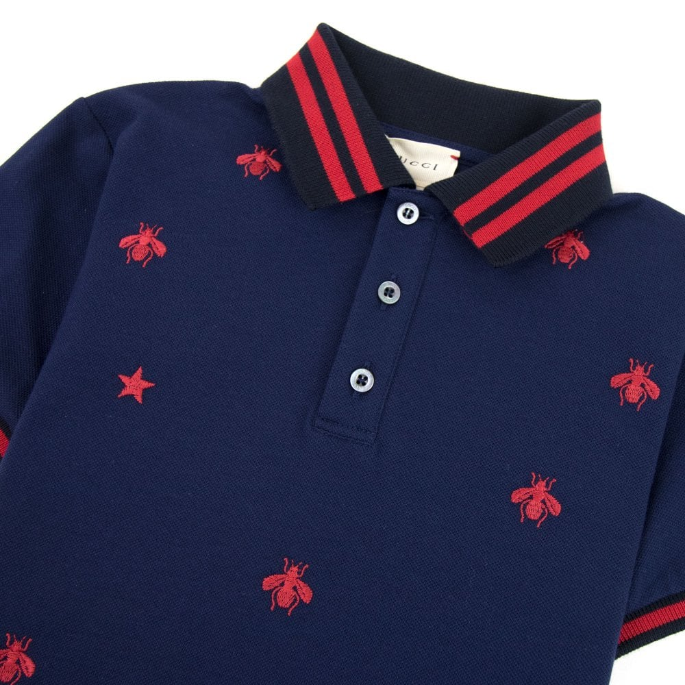 00eb8475 Gucci Junior Bees And Stars Polo Shirt Navy 4585 | ONU