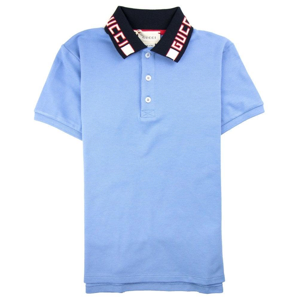 c0095f43b Gucci Junior Collar Logo Polo Shirt Baby Blue   ONU