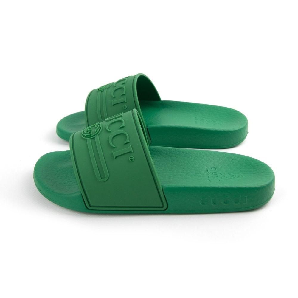 63f2ab9923660a Gucci Junior Logo Rubber Slider Green