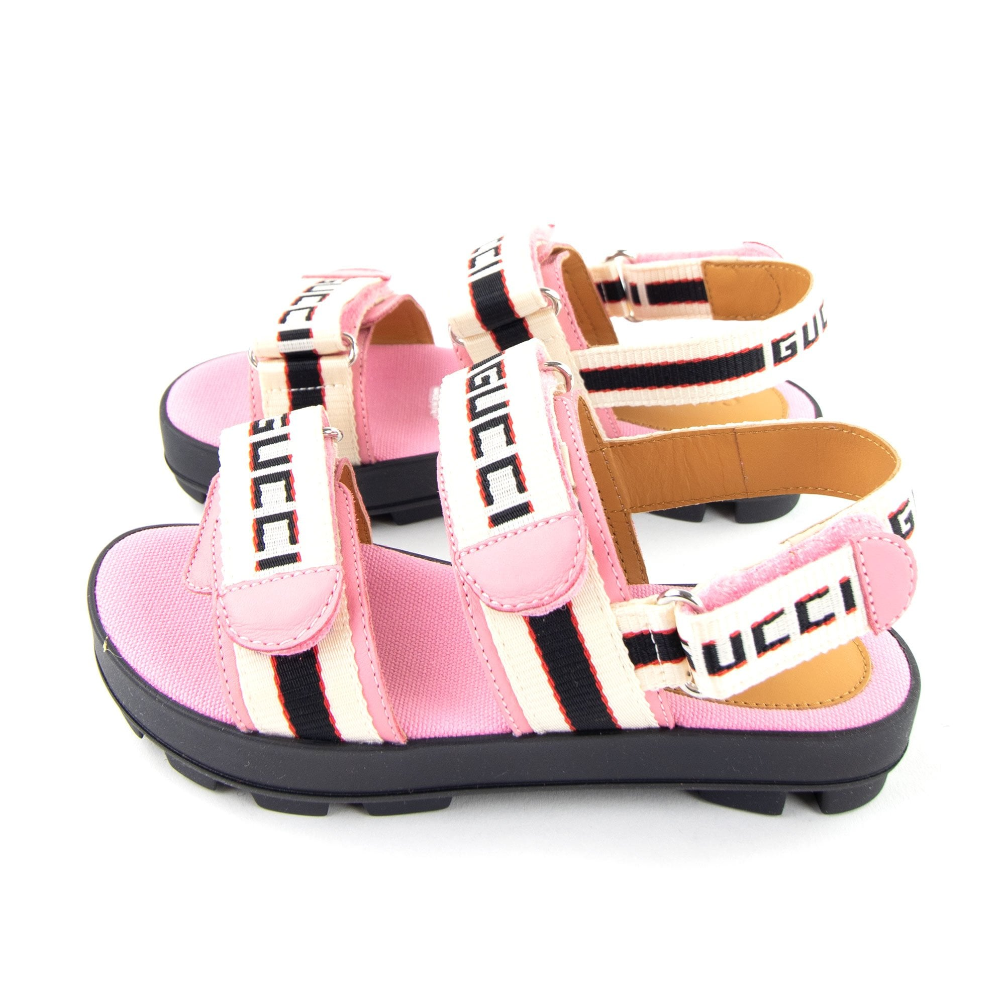 Gucci Junior Stripe Chunky Sandal Pink