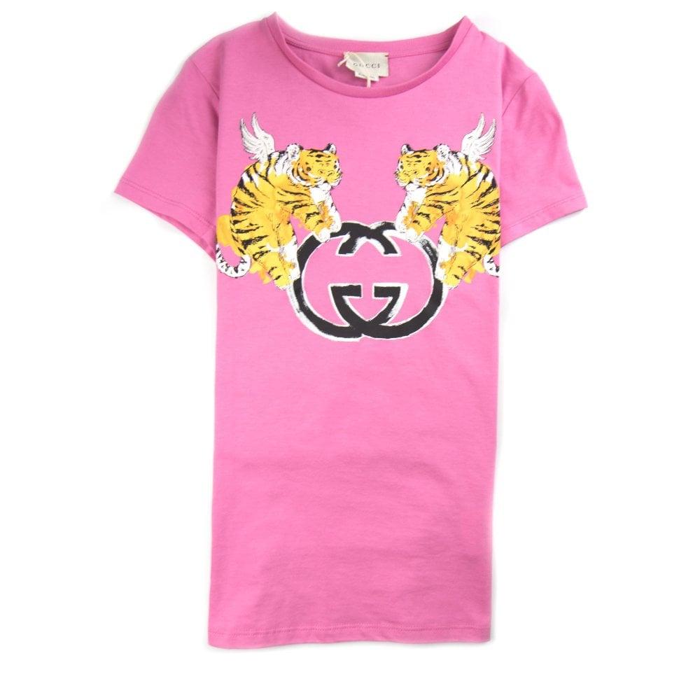 dbdb9712a3f Gucci Junior Winged Tiger GG Logo T-Shirt Pink