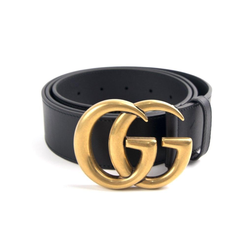 53d7920ec0621 Gucci Leather Belt GG Buckle Black/Gold | ONU