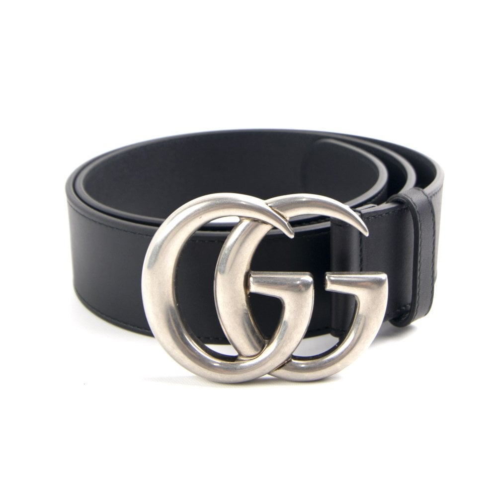Leather Belt GG Buckle Black/Silver