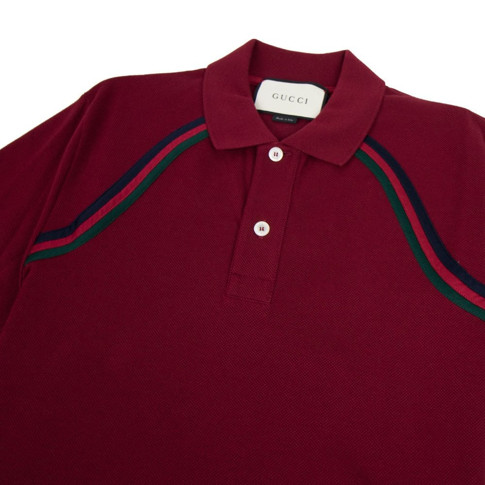 42adc1438bd0 Gucci Polo Shirt With Web Dark Red